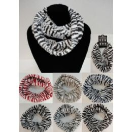 48 Units of Zebra Print Knitted Infinity Scarf - Winter Scarves