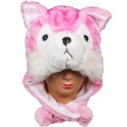 36 Units of Winter Animal Hat Pink - Winter Animal Hats