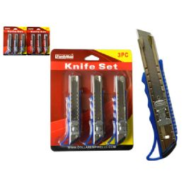 60 Units of Knife Set 3pc Dou Blister Packing 1/pc - Box Cutters and Blades