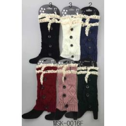 12 Units of Knitted Boot Topper Double Lace Top With Buttons - Womens Leg Warmers
