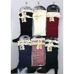 12 Units of Short Boot Topper Leg Warmer With Lace Trim And Buttons - Womens Leg Warmers