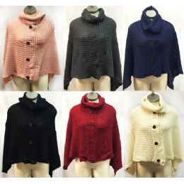 12 Units of Knitted Cowl Collar Ponchos With Buttons Assorted - Winter Pashminas and Ponchos