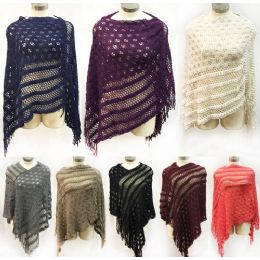 12 Units of Knitted Multi Pattern Ponchos *assorted Colors & One Size Fits Most - Winter Pashminas and Ponchos