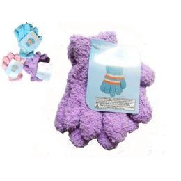 144 Bulk Gloves Fuzzy 1pr Kid 18g Strip Children