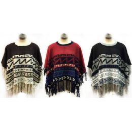 6 of Knitted Poncho With Abstract Geometric Patterns
