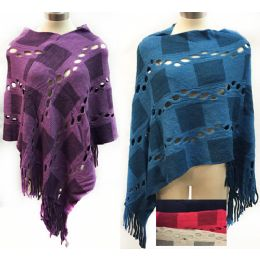 12 of Knit Poncho Shawl Contrasting Square Patch And Fringes