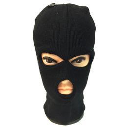 12 Bulk Unisex Black Ski Hat/mask One Size Fits All
