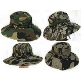 36 Wholesale Camo Fishing Hat With Mesh Assorted Colors