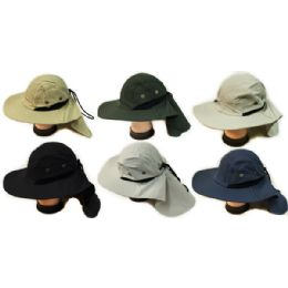 24 Wholesale Summer Hunting Fishing Hat With Neck Cover Assorted
