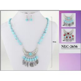 96 Units of Bohemian Tribal Turquoise Color Necklace With Earring - Necklace Sets