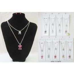 120 Units of Rhinestone Ribbon Necklace With Earring Set Assorted - Necklace Sets