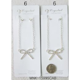 """120 Units of Ribbon Design Necklace With Earring Set 12 Pcs In A Pack, Size:9"""" - Necklace Sets"""