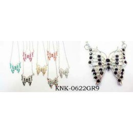120 Units of Butterfly Necklace With Earring Set Assorted Colors, One Style In Each Dozen Pack - Necklace Sets