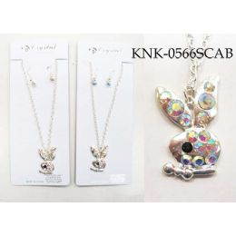 120 Units of Silver Colored Bunny Necklace Earring Set - Necklace Sets