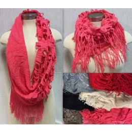12 Units of Double Textured Infinity Knitted Scarves - Winter Scarves