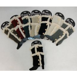 48 Units of Antique LacE-3 Buttons Knitted Boot Cuff - Womens Leg Warmers