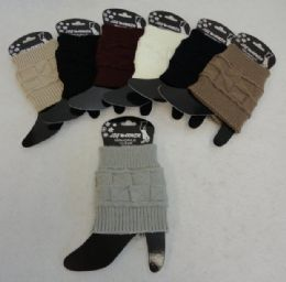 24 Units of Knitted Boot Cuffs [square Knit] - Womens Leg Warmers