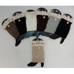 48 Units of Knitted Boot Cuffs 1 Button-Antique Lace - Womens Leg Warmers