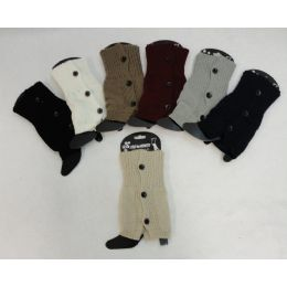48 Units of Knitted Boot Cuffs 3 Buttons - Womens Leg Warmers