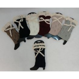 12 Units of Knitted Boot Cuffs [antique Lace Bow] - Womens Leg Warmers