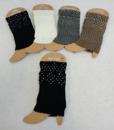 12 Units of Knitted Boot Cuffs [rhinestones] - Womens Leg Warmers