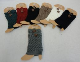 12 Units of Knitted Boot Cuffs With Large Button - Womens Leg Warmers