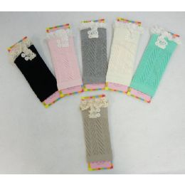 12 Units of Pastel Boot Cuffs Antique Lace-2 Buttons - Womens Leg Warmers