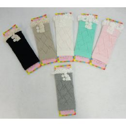 12 Units of Pastel Boot Cuffs [antique Lace/2 Buttons] - Womens Leg Warmers