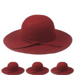 12 Units of Womans Plain Wool Bucket Hat In Maroon - Fashion Winter Hats