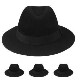 12 Units of Women Fedora Winter Hat Black Color - Fashion Winter Hats