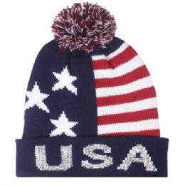 48 Units of Mens Usa Winter Hat With Pom Pom - Fashion Winter Hats