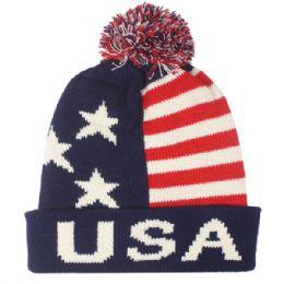 36 Units of Men Usa Winter Hat With Pom Pom - Fashion Winter Hats