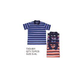 36 Units of Men's Stripe Polo Shirt - Mens Polo Shirts