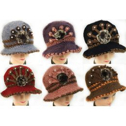 24 Bulk Wholesale Knitted Winter Lady Hats With Fur Ball Design