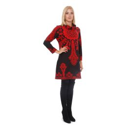6 of Lady's Sweater Dress Long Red On Black Plus Size