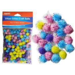 144 Units of 200 Piece Craft Balls With Glitter - Craft Beads