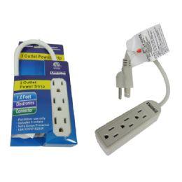 96 of 3 Outlet Power Strip ETL UL 1ft Long Cord
