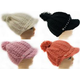 24 Bulk Knitted Winter Hat With Rhinestone Bill Assorted Colors