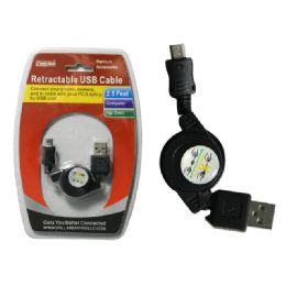 """96 Units of 30"""" Retractable Usb Cable - Wires"""