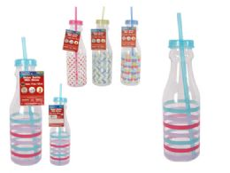 24 Units of Water Bottle Printing With Straw - Drinking Water Bottle