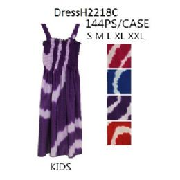 144 of Tie Dye Circle Prints Kids Girls Simple Strap Dresses