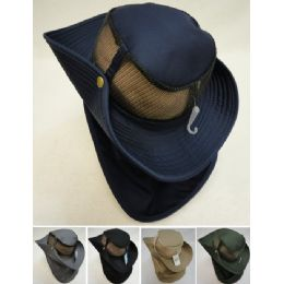 24 Units of Cotton Boonie Hat With Cloth Flap Mesh - Sun Hats