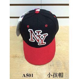 144 Units of Ny Baseball Cap/ Hat Assorted Colors (kids Size) - Kids Baseball Caps
