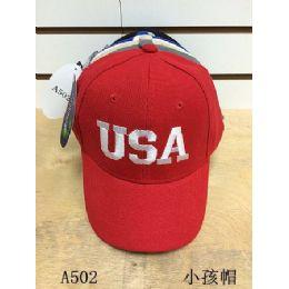 144 Units of Usa Solid Color Baseball Cap/ Hat - Kids Baseball Caps