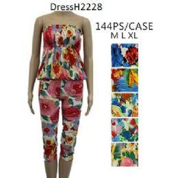 144 Units of Assorted Floral Pattern Romper Sets - Womens Rompers & Outfit Sets
