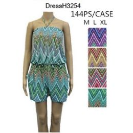 144 Units of Chevron Pattern Short Romper Sets - Womens Rompers & Outfit Sets