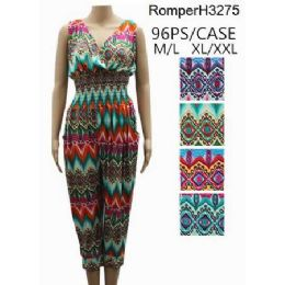 96 Units of Multicolor Chevron Pattern Romper Sets - Womens Rompers & Outfit Sets