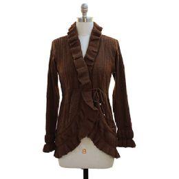 12 of Ruffle Cardigan Sweater Brown