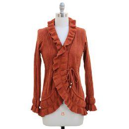12 of Ruffle Cardigan Sweater Rust