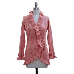 12 of Ruffle Cardigan Sweater Pink